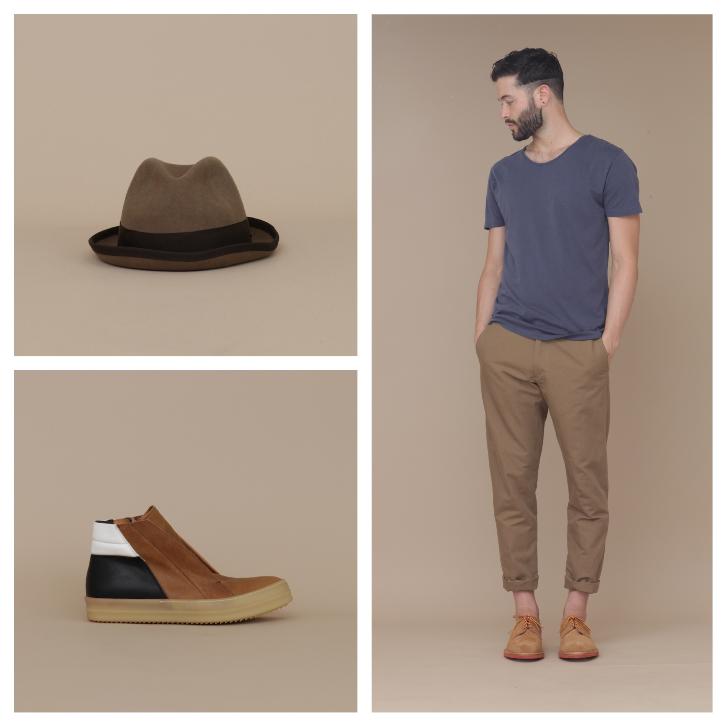 Clockwise from top left: Hope hat, Hope tee and trousers with Mark McNairy New Amsterdam derbies, Rick Owens shoes