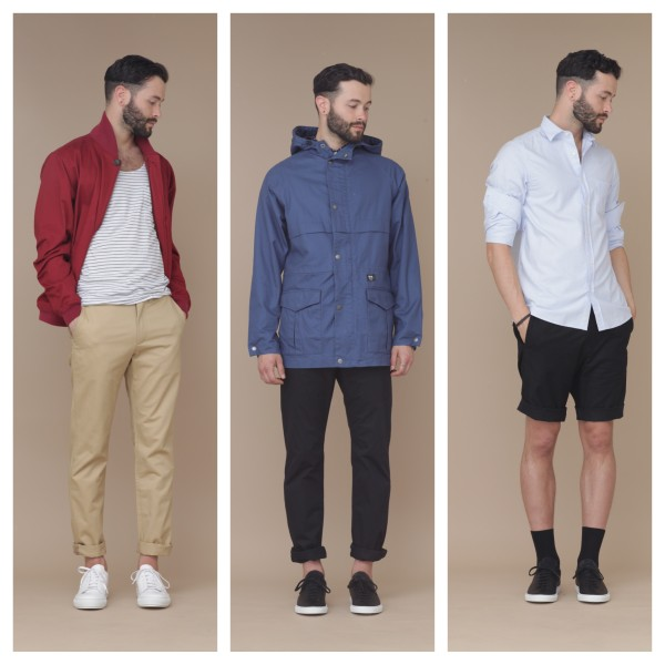From left: Saturdays Surf NYC outfit with Acne sneakers, Wood Wood jacket and trousers with Common Projects sneakers,  Hope button up and shorts with Common Projects sneakers