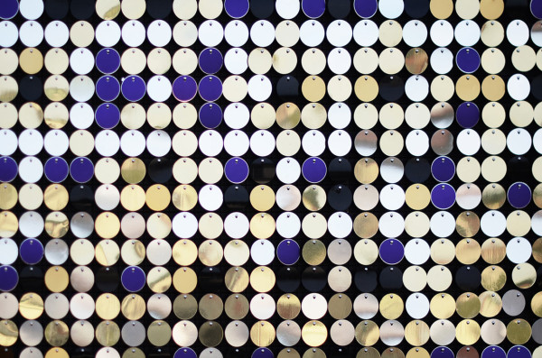 Giant Map Pin Installation Made of Metallic Discs in main art  Category