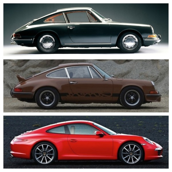 From the top: Original 1963 911. 1973 911 Carrera RS.  2013 911