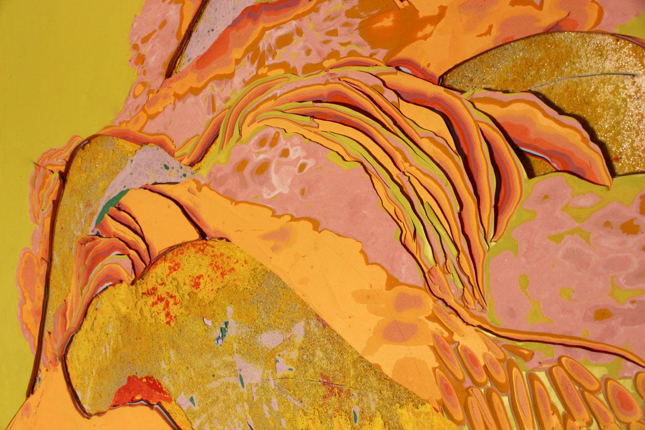 """Reflective Mound"", Acrylic on panel, 36x24, detail"