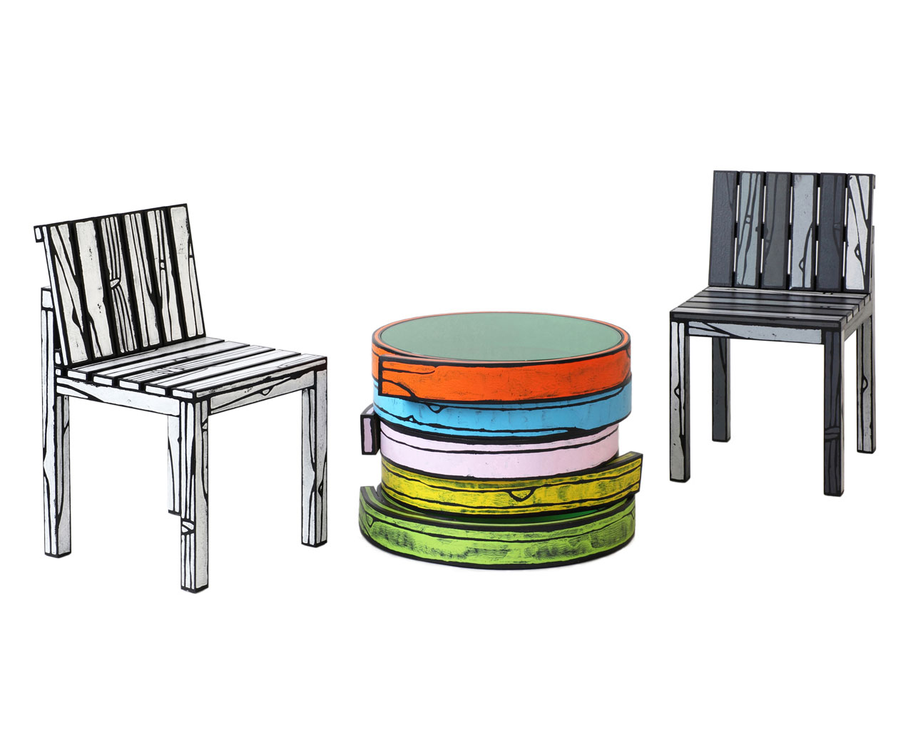 colorful furniture. Wrong Woods Do It Again With More Colorful Wood Grain Furniture