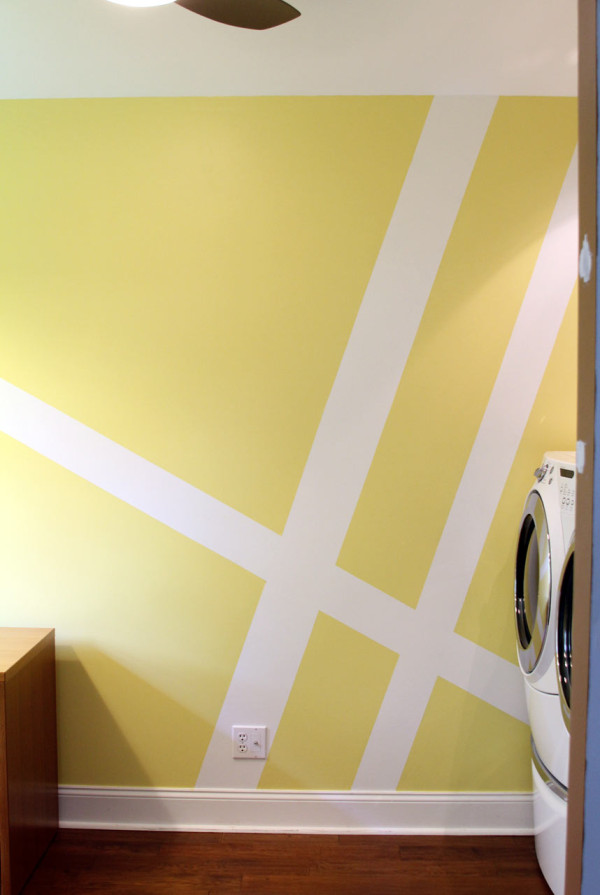 Geometric Wall Mural Laundry Room Makeover - Design Milk