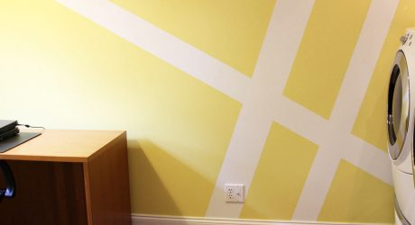 Geometric Wall Mural Laundry Room Makeover