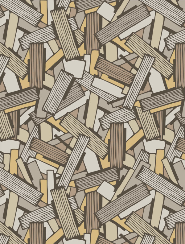 Modern geometric wallpaper - Shatter in burnt orange