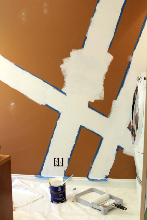 geometric wall paintGeometric Wall Mural Laundry Room Makeover  Design Milk