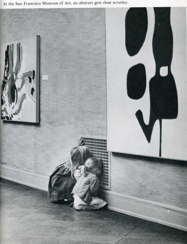 """At the San Francisco museum of art, an abstract gets close scrutiny"" Photo via Life Magazine"