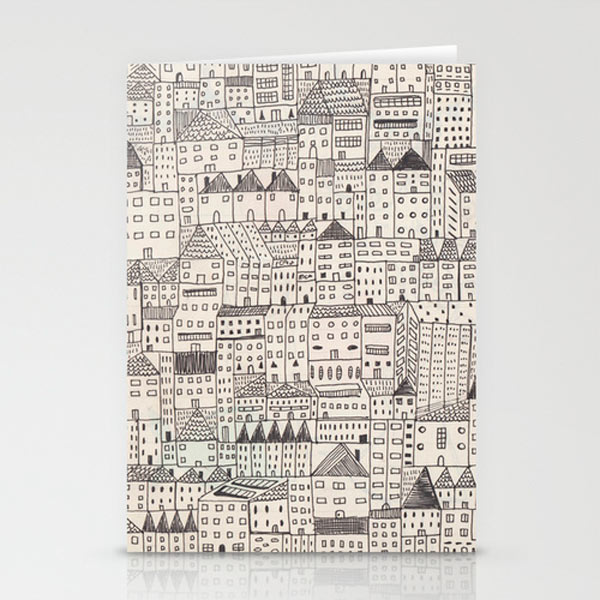cities-houses-drawing-stationery-cards
