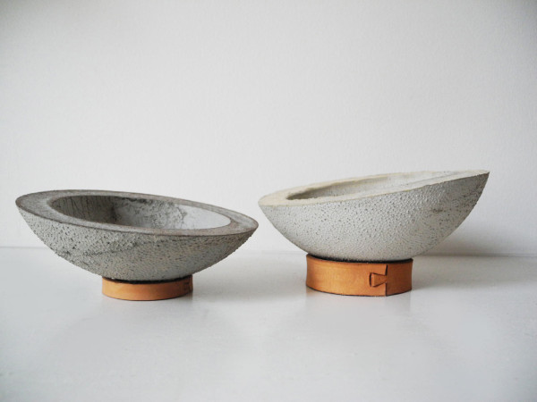 Leather and concrete decor collection by ekdesign design for Modern decorative objects