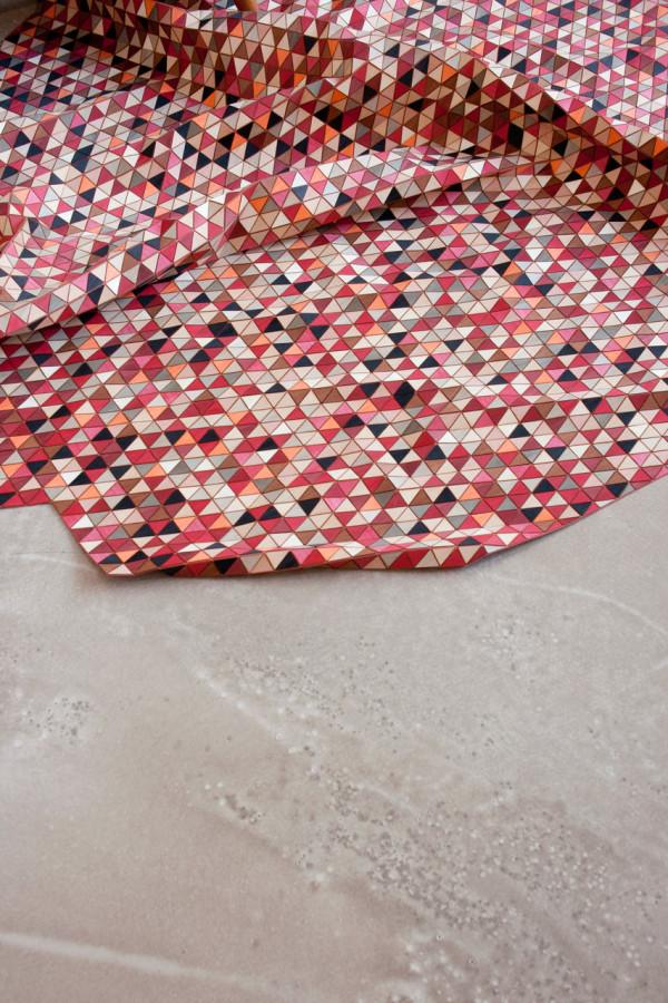 """ M O S T L Y - R E D "", 2011 wooden rug with dyed wood  150 cm x 210 cm"