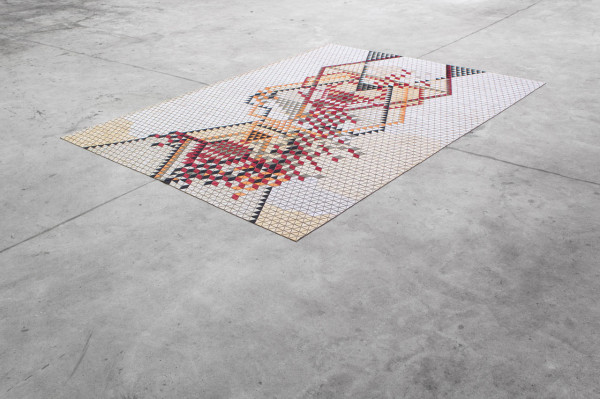 """ L I M I T E D - R E D "", 2013 wooden rug with dyed wood 170 cm x 240 cm"