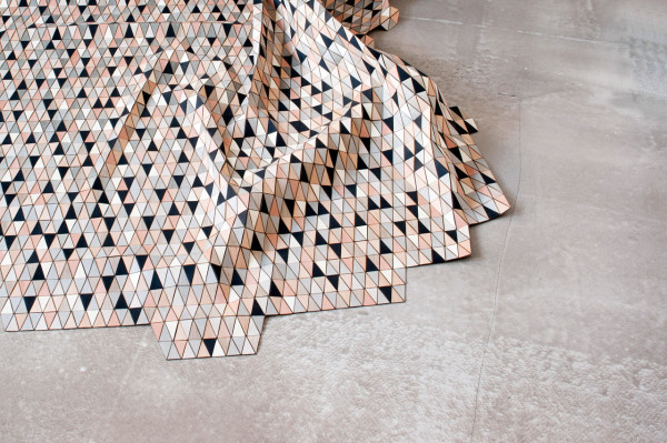 """ G R E Y - B L A C K - B I R C H "", 2011 wooden rug with dyed wood 150 cm x 210 cm"