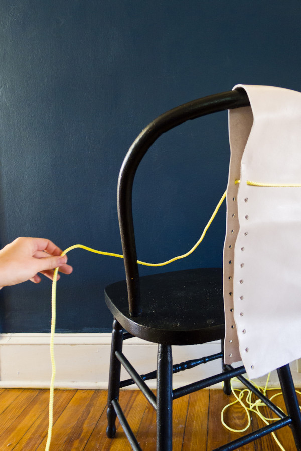 DIY Leather and Neon Chair Transformation