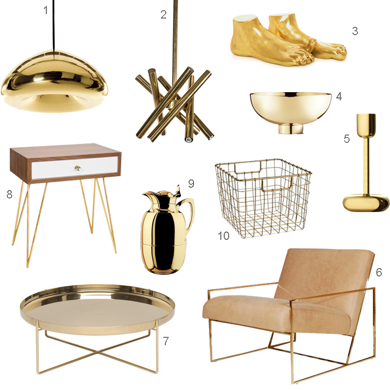 10 Shiny Brass Accents