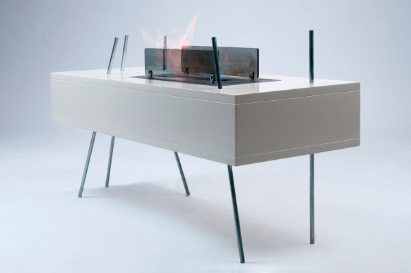 Modern Freestanding Fireplace and Coffee Table in One in main home furnishings  Category