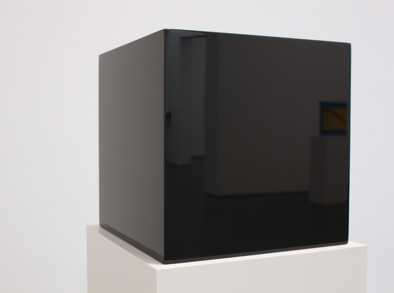 "John McCracken, ""Untitled (Black Block)"", 1971  (reflecting ""Theta-Two"" 1965)"