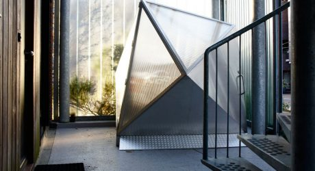 Modern Diamond-Shaped Bike Shed by Pronk.