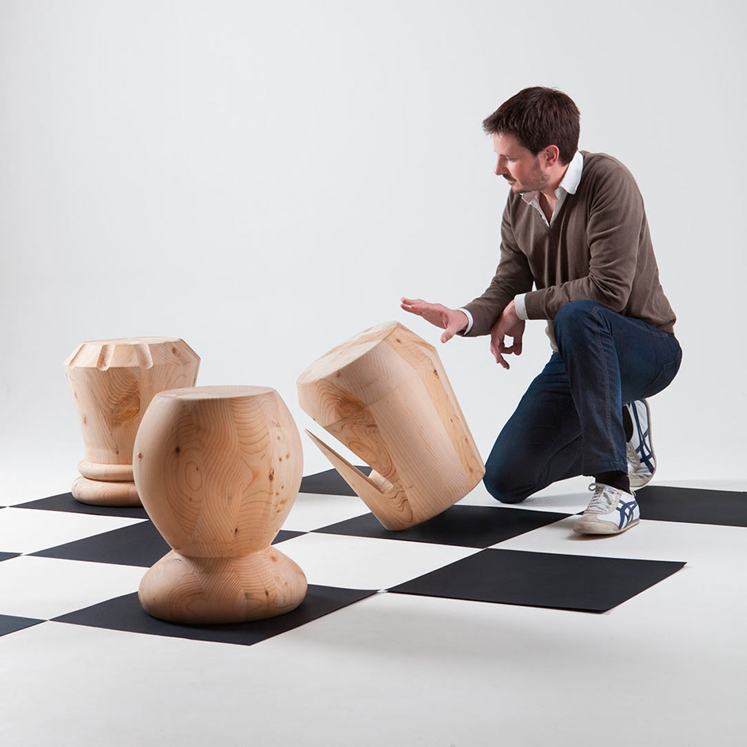 Monolithic Wood Stools Inspired by Chess Pieces