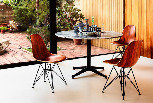 Bon Eames Molded Chair Wood Dining Table
