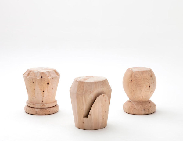 Monolithic Wood Stools Inspired by Chess Pieces in main home furnishings  Category