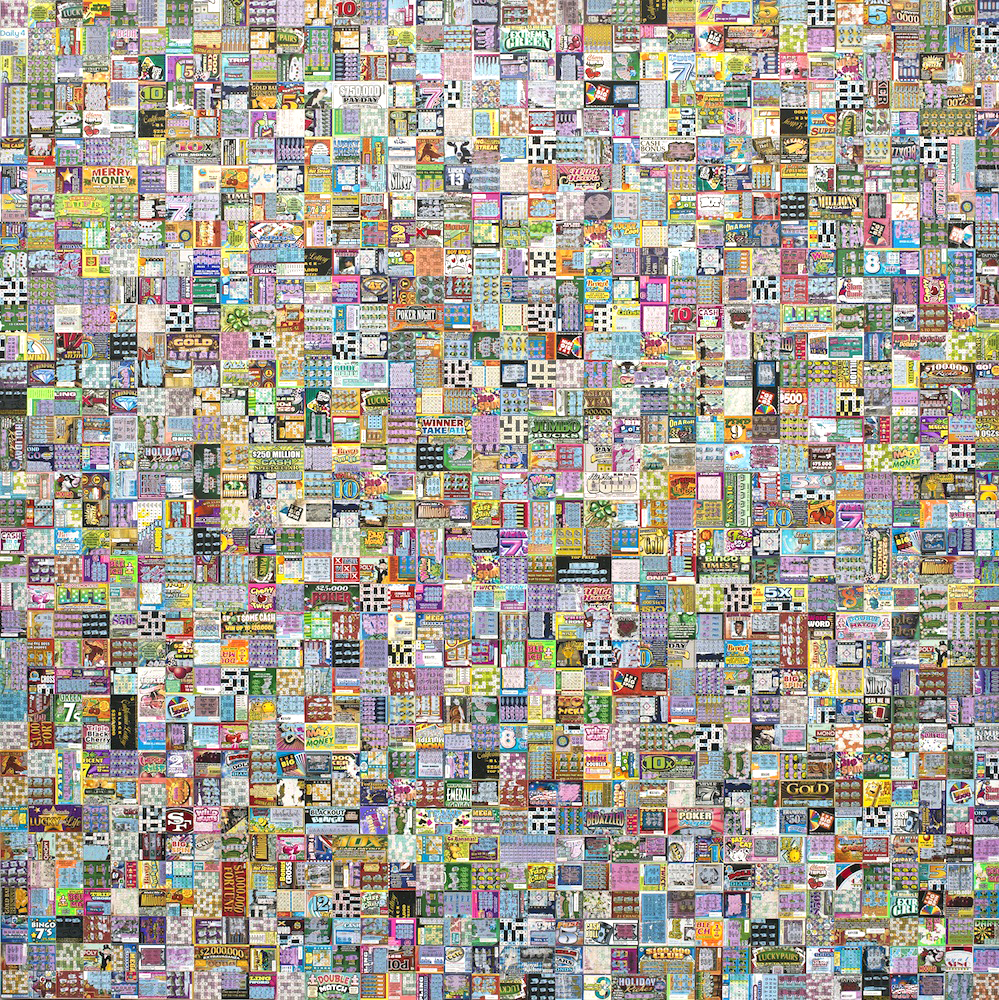 "Play It Again | 2013 | Discarded lottery tickets on canvas | 183cm x 183cm / 72"" x 72"""