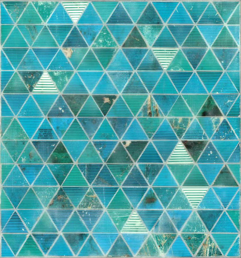 Green Triangles | 2012 | Discarded Newport cigarette packaging, encaustic on linen