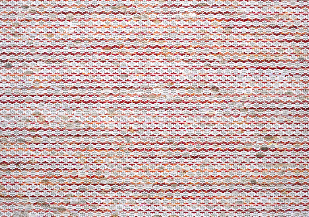 "Unchained | 2013 | Discarded Marlboro cigarette packaging on linen | 208cm x 147cm / 82"" x 58"""