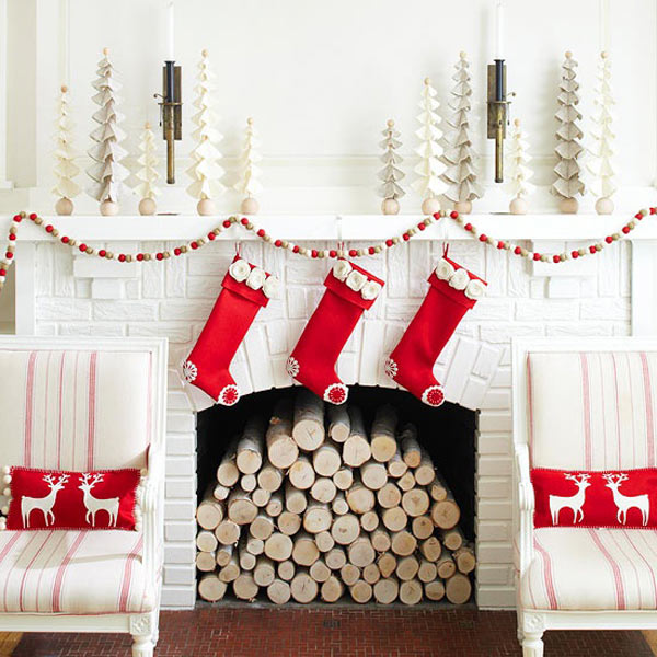 holiday decor mantle white trees - Modern Christmas Decorating Ideas