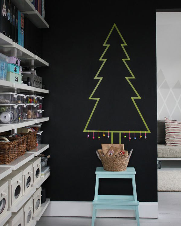 holiday decor washi tape tree wall - Modern Christmas Decorating Ideas