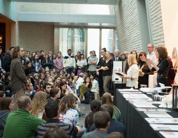 Judges providing feedback to student designers. Photo by Kelly Turso