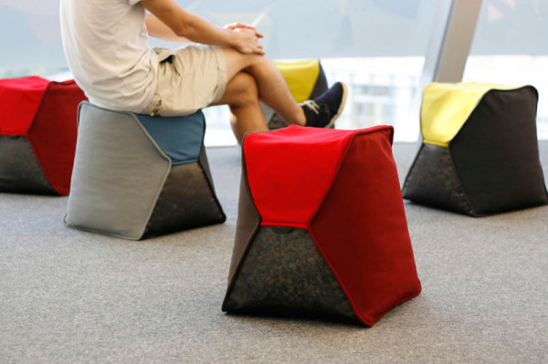 Beanbag Stools Filled with Recycled Bottle Caps in home furnishings  Category