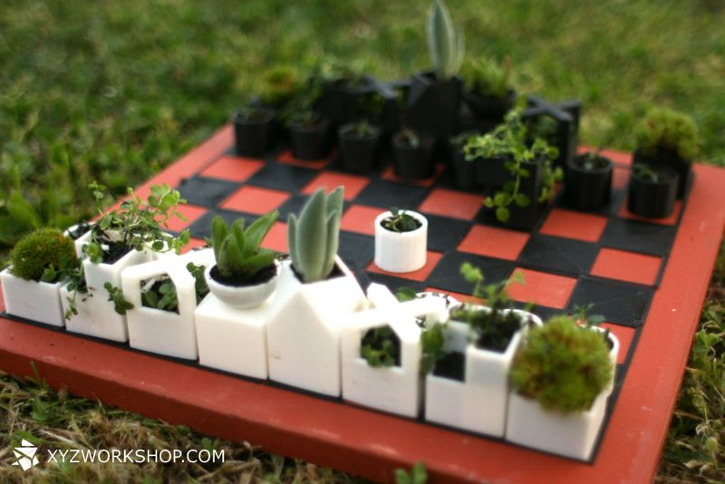 A 3D Printed Chess Set That's Also a Micro Planter