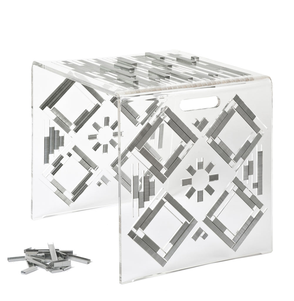 100K: A Stool or Side Table Made from Plexiglas & Staples