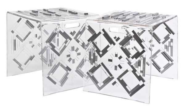 100K: A Stool or Side Table Made from Plexiglas & Staples in main home furnishings  Category