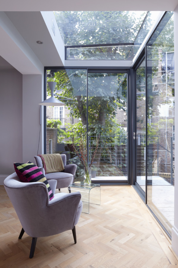 modern glass extension on a 5 story townhouse 46662