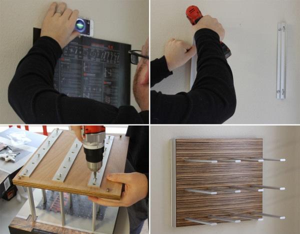 design milk - stact wine wall installation process