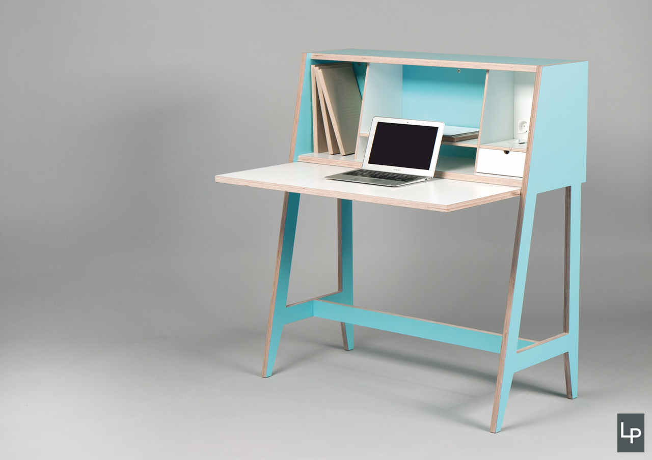 a wired desk that 39 s built into a cabinet design milk. Black Bedroom Furniture Sets. Home Design Ideas