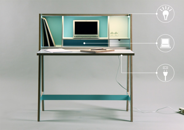 A Wired Desk Thats Built Into A Cabinet in main home furnishings  Category