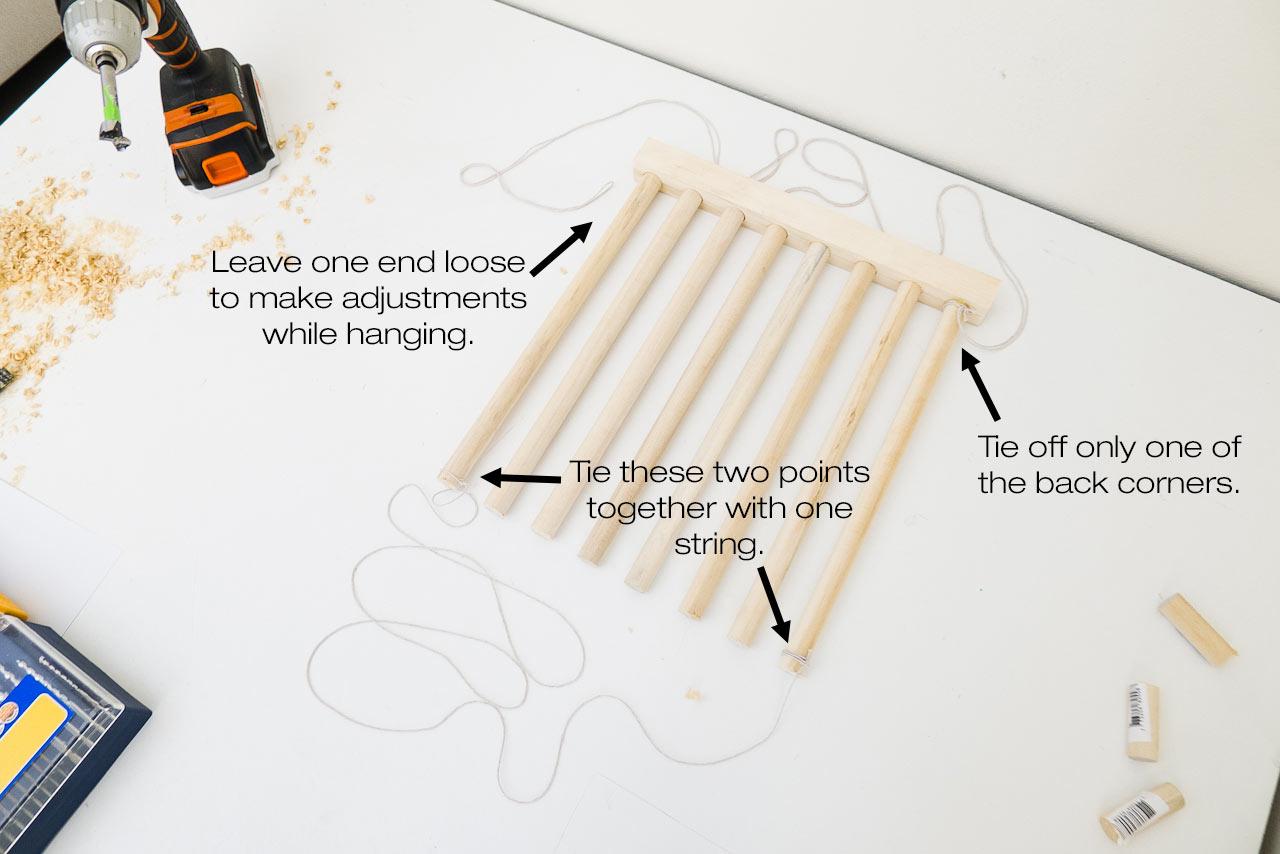 DIY Stacked Dowel Shelving