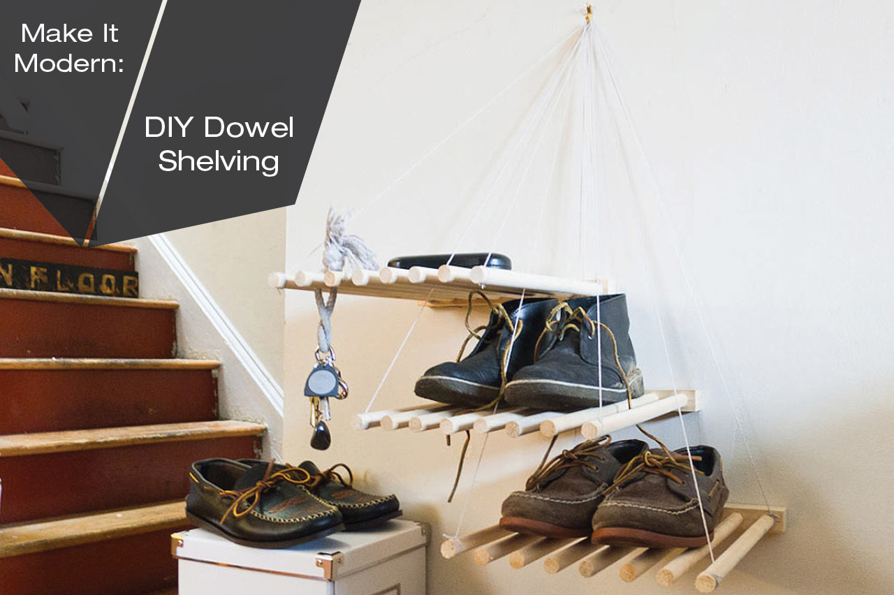 DIY Stacked Dowel Shelving