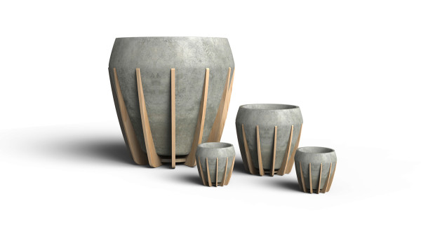 A Small Wood and Concrete Pot Called La Morena in main home furnishings  Category
