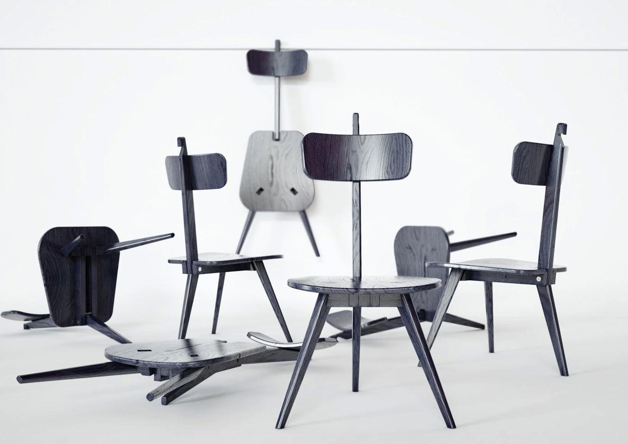 A Three-Legged Chair That Neatly Folds Flat