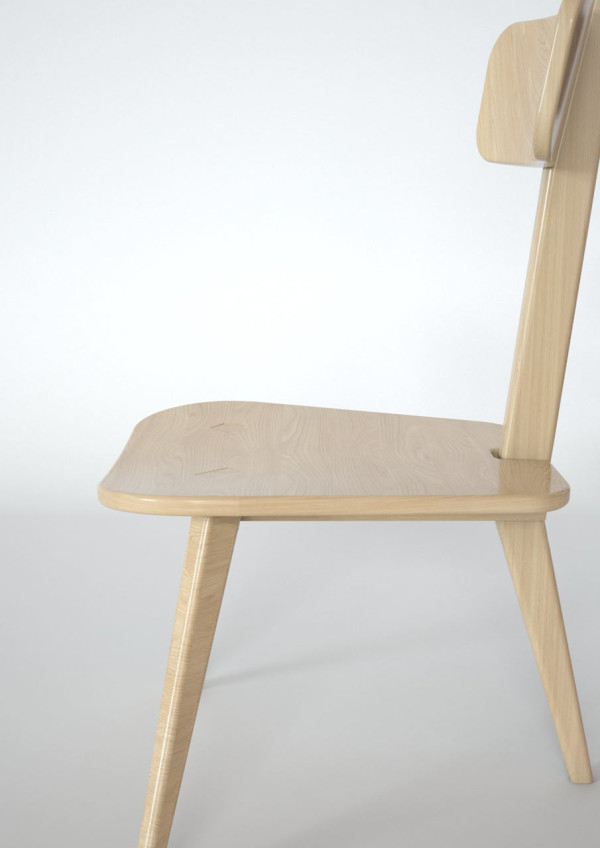 A Three Legged Chair That Neatly Folds Flat in home furnishings Category