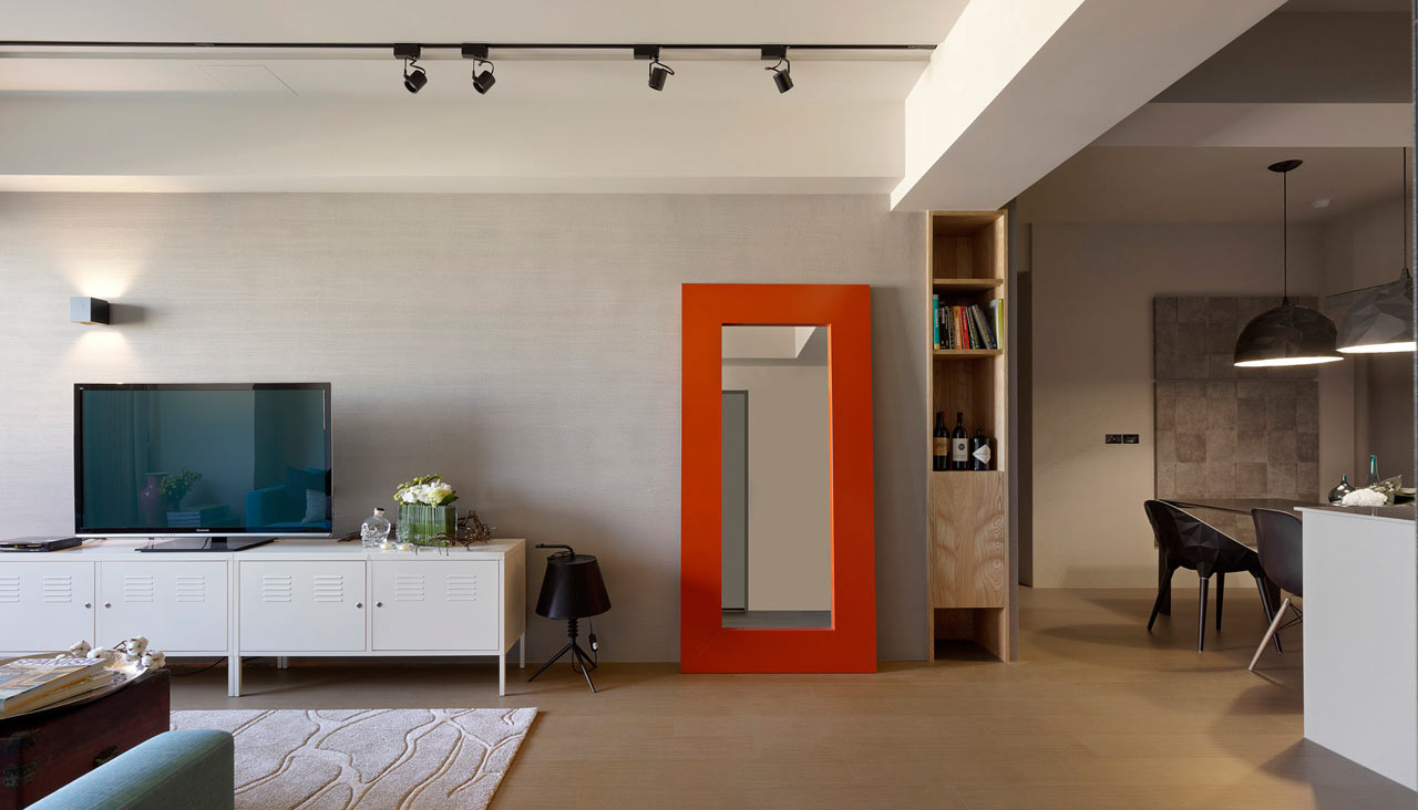 minimally designed apartment with punches of color