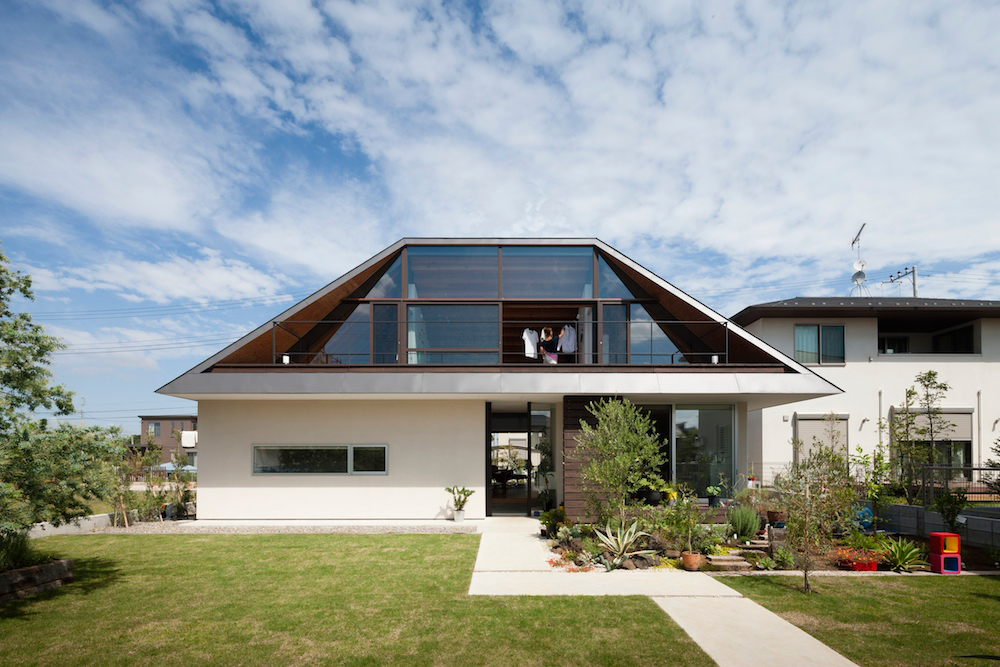 House with a Large Hipped Roof in Japan