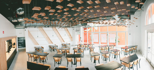 A Venice Beach, CA Restaurant with an Inventive Ceiling