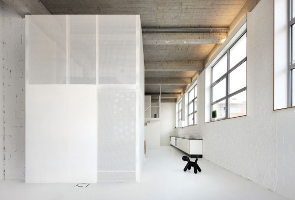 A Loft with Two Metallic Structures in main interior design architecture  Category