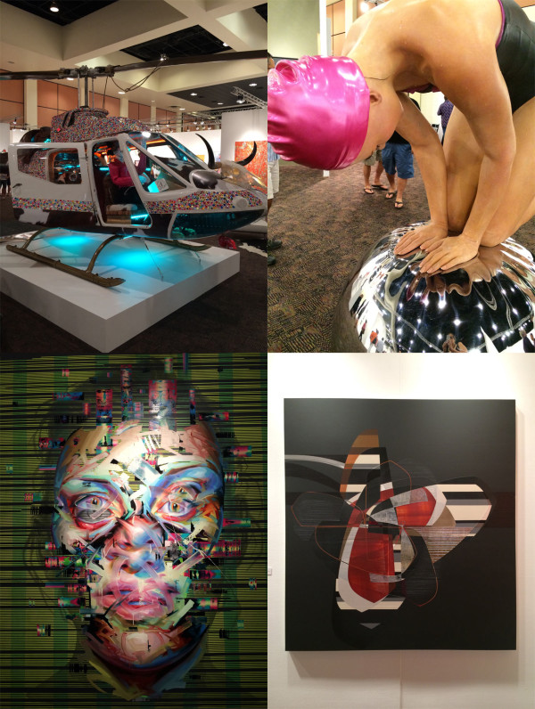 Clockwise from top left: Copter by Steve Maloney, sculpture by Carole Feuerman, painting by Alex Couwenberg, painting by Justin Bower