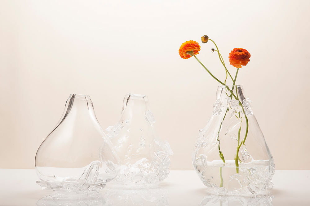 Vases Accented with Glass Shards That Look Like Crystal Formations