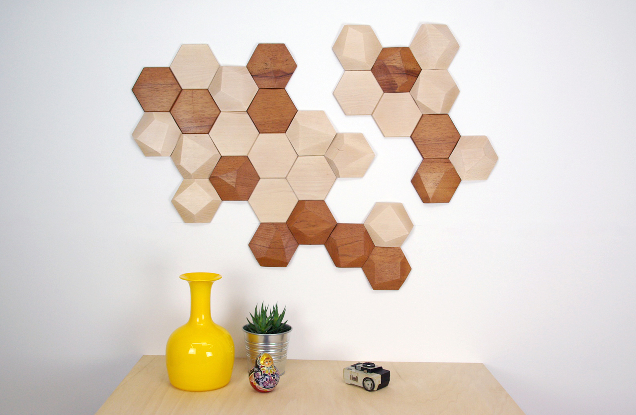 Geometric Wooden Wall Tiles by Monoculo Design Studio